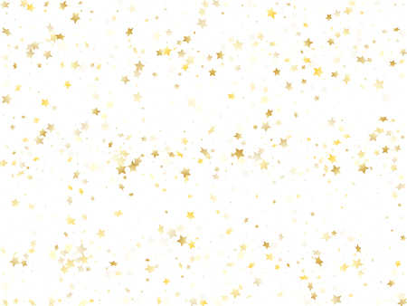 Flying gold star sparkle vector with white background. Fashionable gold gradient christmas sparkles glitter geometric star pattern. Holiday confetti glitter flying pattern.