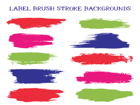 Craft label brush stroke backgrounds, paint or ink smudges vector for tags and stamps design. Painted label backgrounds patch. Interior paint color palette swatches. Ink dabs, red green blue splashes.