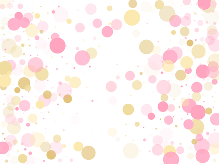 Rose gold confetti circle decoration for Valentine card background. Birthday vector illustration. Gold, pink and rose color round confetti dots, circles scatter on white. Fashionable bokeh background.
