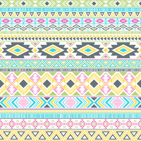 Aztec american indian pattern tribal ethnic motifs geometric seamless background. Graphic native american tribal motifs textile print ethnic traditional design. Mayan clothes pattern design.
