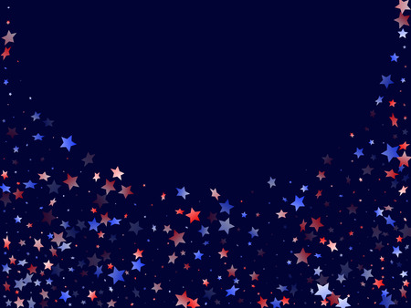 American Independence Day stars background. Confetti in USA flag colors for Independence Day. Gradient red blue white stars on dark American patriotic vector. 4th of July stardust scatter.