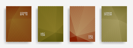Halftone annual report design vector collection. Halftone stripes texture cover page layout templates set. Report covers geometric design, business brochure pages corporate backgrounds. Vetores