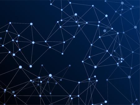 Social media communication digital concept. Network nodes plexus dark blue background. Global social media network space vector.