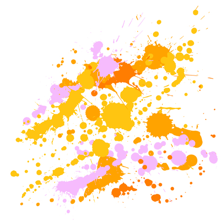 Gouache paint stains grunge background vector. Messy ink splatter, spray blots, dirty spot elements, wall graffiti. Watercolor paint splashes pattern, smear liquid stains splatter backdrop. Illustration