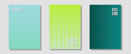 Certificate layouts vector graphic design set. Corporate catalogs. Zigzag halftone lines wave stripes backdrops. Contemporary collection. Flat lines shapes backgrounds for certificate layout.