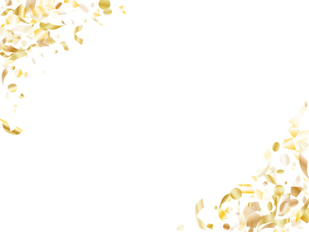 Gold luminous confetti flying on white holiday vector graphics. VIP flying sparkle elements, gold foil texture serpentine streamers confetti falling birthday background.