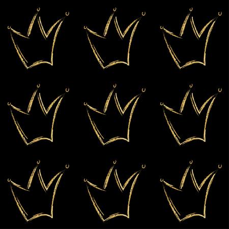 Patrón de vector de coronas de oro en estilo dibujado a mano. Arte de línea de los iconos de la corona del color del metal dorado en negro. Símbolos reales de rey, reina, príncipe o princesa. Patrón de coronas.