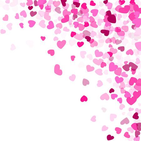 Pink crimson hearts confetti frame border wedding event vector background. Cute falling hearts isolated illustration. Stock Illustratie