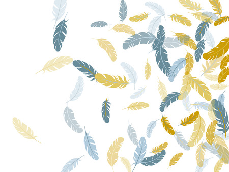 Tender silver gold feathers vector background. Lightweigt plumelet windy floating pattern. Wildlife nature isolated plumage. Fluffy twirled feathers on white design. 스톡 콘텐츠 - 122805201