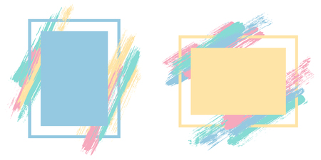 Modern frames with paint brush strokes vector set. Box borders with painted brushstrokes backgrounds. Advertising graphics design empty frame templates for banners, flyers, posters, cards.  イラスト・ベクター素材
