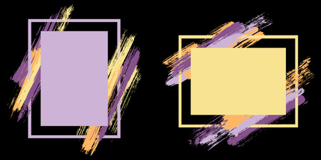 Stylish frames with paint brush strokes vector set. Box borders with painted brushstrokes on black. Advertising graphics design empty frame templates for banners, flyers, posters, cards.