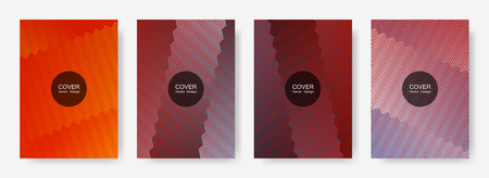 Zig zag lines halftone banner templates set, gradient stripes texture vector backgrounds for   brochure covers. Laconic zig zag gradient line stripes composition. Brandibng banner templates. 向量圖像