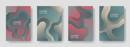 Gradient fluid shapes abstract covers vector collection. Trendy poster backgrounds design. Flux paper cut effect blob elements backdrop, fluid wavy shapes texture print. Cover templates.