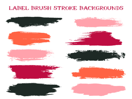 Colorful label brush stroke backgrounds, paint or ink smudges vector for tags and stamps design. Painted label backgrounds patch. Interior colors guide book samples. Ink smudges, red black spots. Illustration