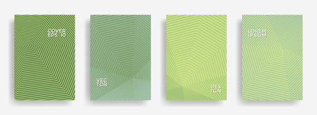 Colorful annual report design vector collection. Gradient halftone grid texture cover page layout templates set. Report covers geometric design, business booklet pages corporate backgrounds.