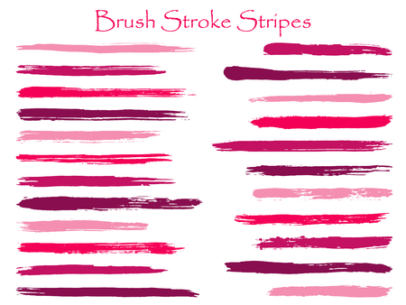 Simple ink brush stroke stripes vector set, pink horizontal marker or paintbrush lines patch. Hand drawn watercolor paint brushes, smudge strokes collection. Interior colors scheme elements.