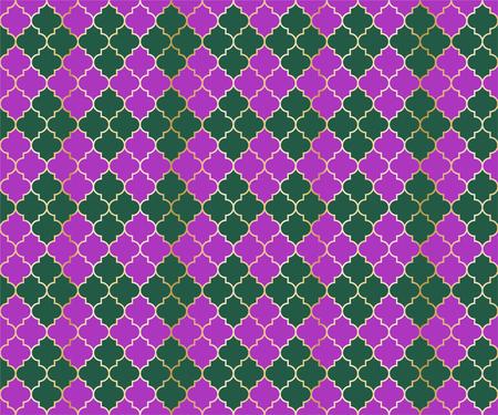 Turkish Mosque Vector Seamless Pattern. Argyle rhombus muslim textile background. Traditional mosque pattern with gold grid. Stylish islamic argyle seamless design of lantern lattice shape tiles.