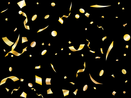 Gold yellow on black foil holiday realistic confetti flying vector background. Premium flying tinsels, foil texture serpentine streamers, sparkles, confetti falling anniversary background.