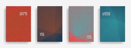 Futuristic annual report design vector collection. Halftone lines texture cover page layout templates set. Report covers geometric design, business booklet pages corporate templates. Vetores