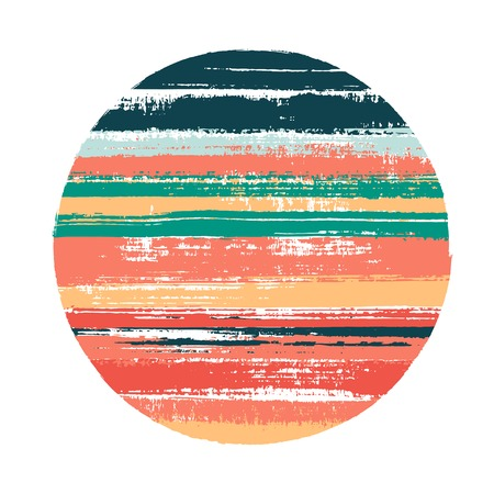 Rough circle vector geometric shape with stripes texture of paint horizontal lines. Old paint texture disk. Stamp round shape circle   element with grunge stripes background. Ilustração