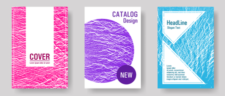Magazine cover layouts vector design. Teal pink purple waves texture backdrops. Stylish magazine templates design set. Fluid buzzing wavy noise ripple texture. Research development plan covers. Ilustrace