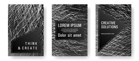 Booklet design vector layouts set. Black and white waves texture backdrops. Cool booklet vector cover templates design. Buzzing rippling motion background texture. Research development plan covers.