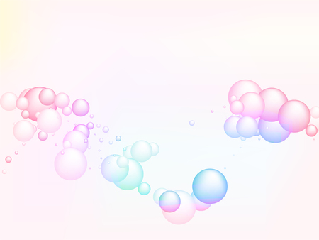 Abstract soap bubbles in rainbow colors. Vector illustration. Magic background for children party. Colorful soap bubbles with glares, highlights and gradients on white. Illustration
