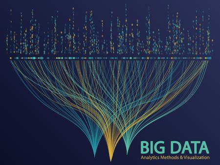 Big data analytics methods and visualization concept vector design. and 1 binary matrix data visualization. Digital analytics statistical information of big number curve lines visual matrix.