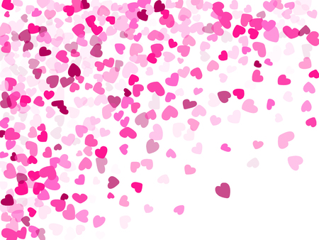Pink hearts confetti invitation card vector background. Trendy flying hearts shapes illustration. Love concert holiday graphic design.
