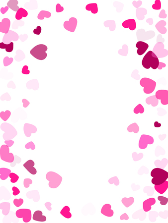 Pink hearts confetti frame border Valentines Day vector background. Dreamy falling hearts scatter illustration.