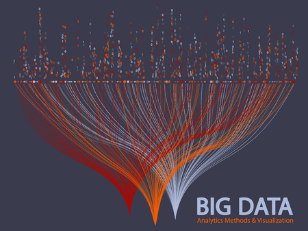 Big data statistical analysis visualization concept vector design. 0 and 1 binary code matrix data visualization. Digital analytics statistical information of big number curve lines fractal matrix.