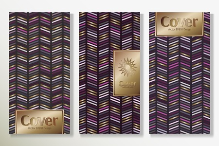 Vector set packaging templates with different colors for luxury products backdrop. Deluxe cover design with trendy linear style and gold inscription frame. Decorative artwork for brochure. Ilustração