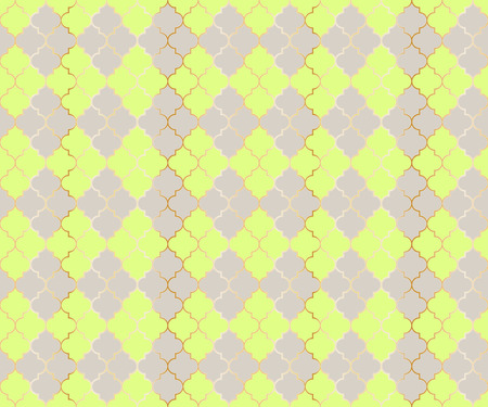 Eastern Mosque Vector Seamless Pattern. Argyle rhombus muslim fabric background. Traditional mosque pattern with gold grid. Rich islamic argyle seamless design of lantern lattice shape tiles. 向量圖像