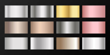 Silver, platinum, bronze, pink gold vector metallic gradients. Badges set. Bright elements of gold, bronze and silver gradients for award medals or coins design.