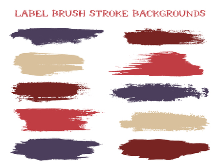 Grunge label brush stroke backgrounds, paint or ink smudges vector for tags and stamps design. Painted label backgrounds patch. Interior colors scheme elements. Ink smudges, red brown stains, spots.