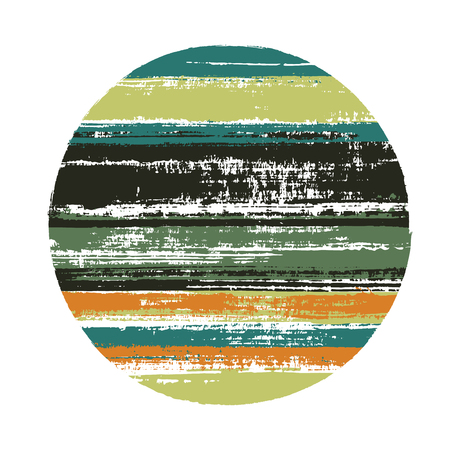 Ragged circle vector geometric shape with stripes texture of ink horizontal lines. Disk banner with old paint texture. Emblem round shape logotype circle with grunge stripes background.