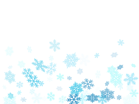 Winter snowflakes border magic vector background.  Macro snowflakes flying border design, holiday card with crystal flakes confetti scatter frame, snow elements. Frosty cold season symbols. Çizim