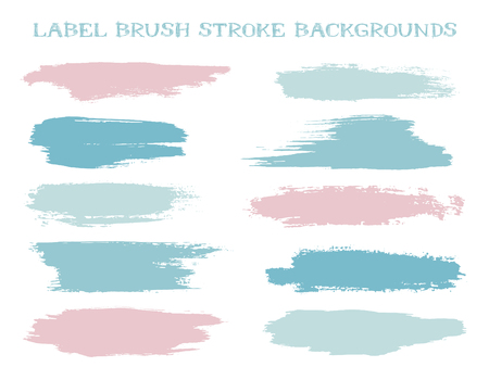 Colorful label brush stroke backgrounds, paint or ink smudges vector for tags and stamps design. Painted label backgrounds patch. Interior paint color palette samples. Ink dabs, pink splashes.