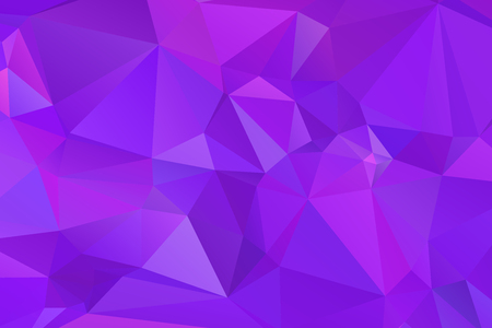 Low poly kaleidoscope vector background with gradient triangle shapes. Geometric mosaic trendy pattern, 3d surface effect. Stylish polygonal background of colorful triangles in purple violet.