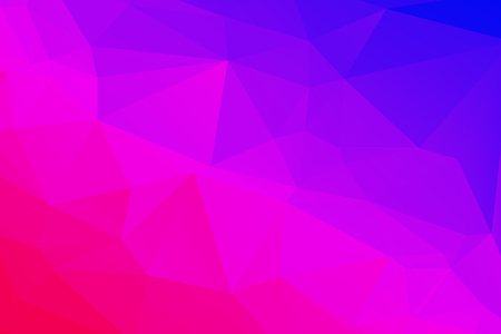 Low poly kaleidoscope vector background with gradient triangle shapes. Geometric mosaic trendy pattern, 3d surface effect. Stylish polygonal background of colorful triangles in violet blue and pink.