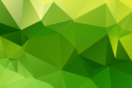 Low poly kaleidoscope vector background with gradient triangle shapes. Geometric mosaic trendy pattern, 3d surface effect. Stylish polygonal background of colorful triangles in green. Illustration
