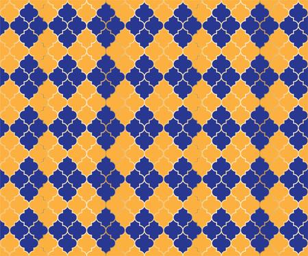 Arabian Mosque Vector Seamless Pattern. Argyle rhombus muslim textile background. Traditional ramadan pattern with gold grid. Rich islamic argyle seamless design of lantern lattice shape tiles.