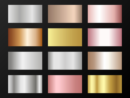 Trendy golden, silver, bronze, rose gold gradients. Metallic foil texture silver, steel, chrome, platinum, copper, bronze, aluminum, rose gold gradient swatches.  Stylish metallic swatches set. Illustration