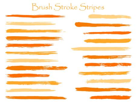 Conjunto de vectores de rayas de trazo de pincel de tinta vintage, marcador horizontal naranja o parche de líneas de pincel. Pinceles de acuarela dibujados a mano, colección de trazos de manchas. Muestras de paleta de colores de pintura interior.