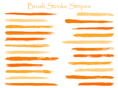 Vintage ink brush stroke stripes vector set, orange horizontal marker or paintbrush lines patch. Hand drawn watercolor paint brushes, smudge strokes collection. Interior paint color palette samples.