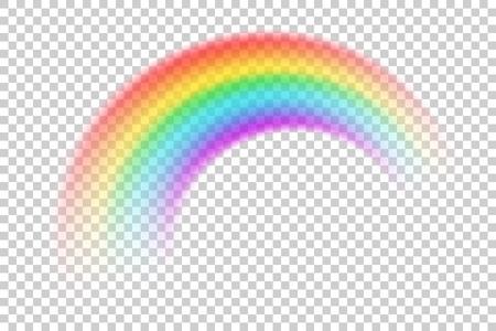 Bunte transparente Regenbogenvektorillustration. Perspektivische Diagonalansicht. Rundbogen von Spektralfarben. Schönes meteorologisches natürliches nach Regenphänomen. Magisches Regenbogensymbol des Glücks.