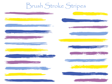 Scribble ink violet brush stroke stripes vector set, horizontal marker or paintbrush lines patch. Hand drawn watercolor paint brushes, smudge strokes collection. Interior colors scheme samples.