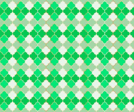 Middle East Mosque Vector Seamless Pattern. Ramadan mubarak muslim background. Traditional ramadan mosque vector pattern with gold grid. Stylish islamic window grid design of lantern shape tiles.