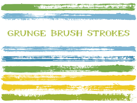 Green blue ink brush strokes isolated design elements. Set of paint lines. Dirty stripes, textured paintbrush stroke shapes. Collection of ink brushes, stripes isolated on white, vector paint samples. Illustration