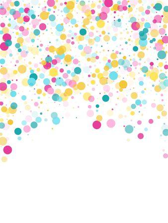 Memphis round confetti retro background in cyan, crimson and gold on white.  Childish pattern vector, children's party birthday celebration background.  Holiday confetti circles in memphis style. Illustration